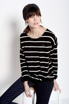 Arilon Black/Ecru Pullover 80% Wool 20% Cashmere - Jumper femme - Des Petits Hauts 1