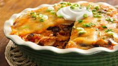 Speedy Layered Chicken Enchilada Pie   Enjoy a main-dish pie that stacks up in tasty layers.