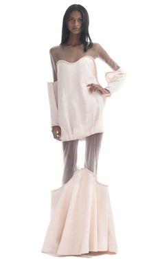 Shop Paula Raia Long Sleeved Pale Pink Illusion Gown at Moda Operandi