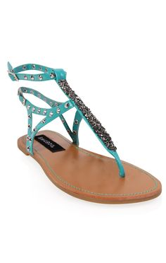 Deb Shops #seafoam #sandal with studded straps and faceted bead thong