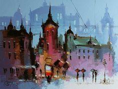 Львів - одне з тих міст, яке що гірша погода, то красивіше виглядає. Львову дуже пасує дощ. Художник Дмитро Меуш знає про цей секрет