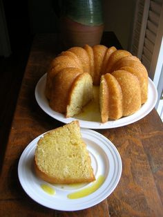 "The Country Cook's ""Kentucky Butter Cake with Rum Sauce."". my suggestion is to substitute a good Bourbon for the rum in the sauce and make it an Ol' Kentucky bourbon cake!"
