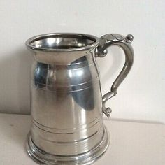 Arthur Price Old Tankard in finest English pewter with line & groove detail and decorative scroll handle. Marks inside of Tankard commensurate with age & use. Pewter Tankard, Pewter Metal, Old London, Beer, Tableware, Ale, Dinnerware, Dishes, Place Settings