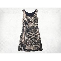 Alice in Wonderland Mad Tea Party Tea-stained screenprinted Cotton... ($214) ❤ liked on Polyvore featuring dresses, tea dresses, ruched dress, white stretch dress, cat dress and white tea-length dresses