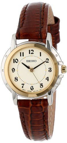 Seiko Women's SXGA02 Two-Tone Watch with Brown Leather Band Check https://www.carrywatches.com Seiko Women's SXGA02 Two-Tone Watch with Brown Leather Band