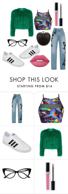 """""""Rainbow Road"""" by pivotalvoices ❤ liked on Polyvore featuring Jonathan Simkhai, Blue Man, adidas, Alexander McQueen, Christian Dior, Lime Crime and Elisabeth Weinstock"""