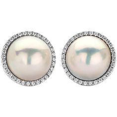 Preowned Large Mabe Pearl And Diamond Halo Earrings In White Gold (10.550 RON) ❤ liked on Polyvore featuring jewelry, earrings, white, pearl jewelry, 18 karat gold jewelry, white gold jewellery, 18k earrings and white pearl earrings