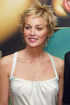 Sharon Stone Casual Pixie Hair - Hairstyles for Women Prom Hairstyles For Short Hair, Pixie Hairstyles, Pixie Haircut, Short Hair Cuts, Short Hair Styles, Sharon Stone Short Hair, Sharon Stone Hairstyles, Sharon Stone Photos, Celebs