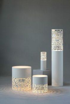 stehlampen papierlampen weiß stilvoll verschiedene höhen