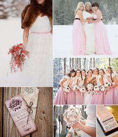brown and pink winter wedding ideas with pretty pink bridesmaid dresses~