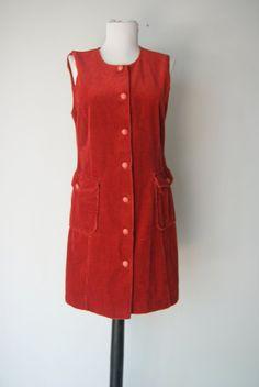 Vintage Rust Corduroy Dress by hipandvintage on Etsy, $23.00