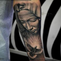 Black Ink Saint Mary Mother Of God Tattoo Design For Forearm