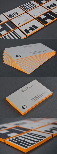 Bold typography and orange on an edge painted letterpress business cards Corporate Design, Business Card Design, Web Design, Logo Design, Letterhead Design, Design Layouts, Stationery Design, Design Ideas, Black Business Card