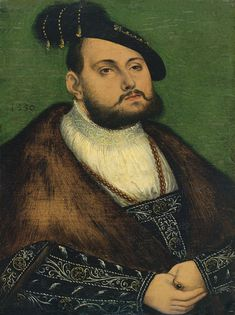 "Workshop of Lucas Cranach the Elder (1472–1553) Portrait of John Frederick I.""Magnanimous"" Prince Elector of Saxony""Saksi kuurvürsti Johann Friedrich Õilsameelse portree"" Date 	1550 Medium 	oil on panel-19.7 × 14.8 cm Kadrioru kunstimuuseum Object history 	1960: acquired by the Art Museum of Estonia"