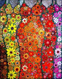 Flower queens - art glass mosaic