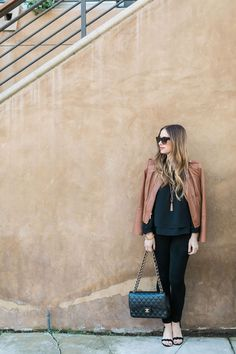 brown leather jacket with black outfit