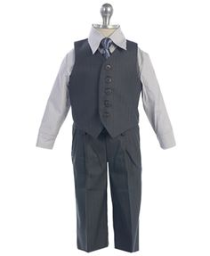 Charcoal vest set for the boys. $45