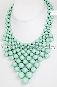 Seafoam Mint J Crew Bubble Necklace Bib by VividDesignsJewelry