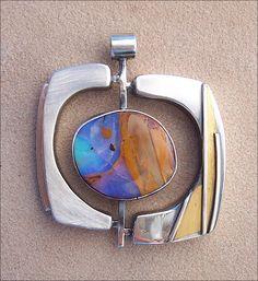 Lesley McKeown brooch, sterling silver, boulder opal, 24K gold keum boo.