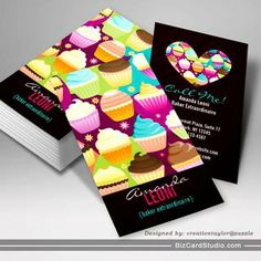 Colorful Cupcakes Vertical Business Cards
