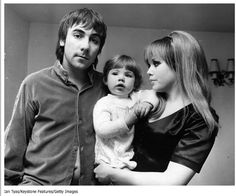 Keith Moon, daughter Mandy and wife Kim.  March 1968