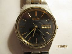 MEN'S VINTAGE SEIKO 3 JEWEL QUARTZ CASUAL WATCH WITH DAY&DATE,WR SS BACK,JAPAN #Seiko #Casual