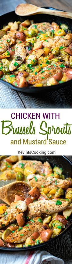 Chicken with Brussels Sprouts and Mustard Sauce. www.keviniscooking.com