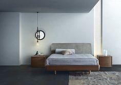 Кровать в стиле модерн с мягким изголовьем с двумя тумбочками