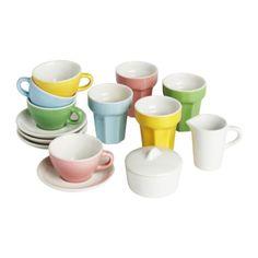 IKEA - DUKTIG, Kahvi-/teetarvikkeet, 10 osaa,  , , Kannustaa lasta roolileikkeihin. Lapset oppivat sosiaalisia taitoja matkimalla aikuisia ja keksimällä omia roolihahmojaan.Pienoiskokoiset tee- ja kahvikupit sekä lattemukit leikkejä varten. Valmistettu kestävästä kivitavarasta.