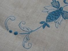 Vintage Tablecloth embroidered blue by PuertoRicosBazaar on Etsy, $28.00