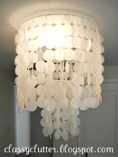 DIY Capiz Shell Chandelier for under 10 dollars ($1) using wax paper and parchment paper! REALLY NO EXPENSIVE CAPIZ SHELLS NEEDED!