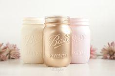 Pink and blush gold painted mason jars