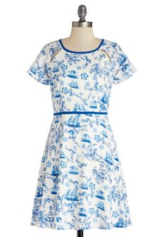 Caravel Dreaming Dress. Take an exploratory trip into a new world of fashion by wearing this Delft-inspired dress by Yumi!  #modcloth