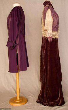 "PLUM AFTERNOON DRESS & JACKET, NEW YORK, c. 1912 Velvet dress, bodice & elbow length sleeves cream lace & dusty plum chiffon, attached long, narrow velvet skirt w/ low center festoon; plum wool cut-away jacket, silk braid & soutache trim, faux vest, plum velvet buttons & trim embellished w/ narrow soutache braid, label ""Kelly New York"", deep plum silk satin lining."