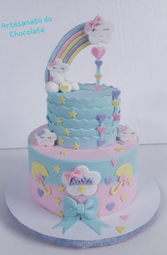 Candy Birthday Cakes, Baby Girl Birthday Cake, Frozen Birthday Cake, Baby Girl Cakes, Unicorn Themed Birthday Party, Bolo Fack, Cloud Cake, Butterfly Cakes, Cute Cakes