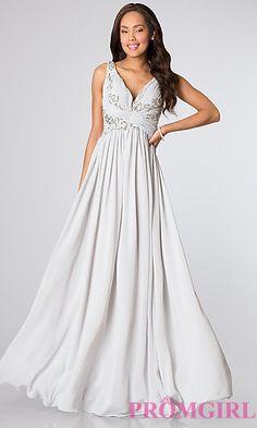 Sleeveless V-Neck Long Silver Dress at PromGirl.com