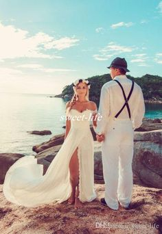 Bohemia Summer Beach Wedding Dresses Sexy Off Shoulder Front Split Chiffon Floor Length 2016 Bobo Cheap Bridal Gowns for Wedding Custom Made Online with $106.06/Piece on Sweet-life's Store | DHgate.com