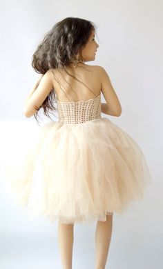 Flower Girl Tutu  Dress with Lace Stretch Crochet Bodice and