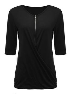 Casual Women V Neck Front Zipper Ruffle Solid T-Shirt