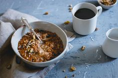Topped with marscapone apple butter, this carrot cake oatmeal is a warm and comforting fall breakfast.