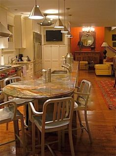7 Island With Round Table Attached Ideas Kitchen Island Table Kitchen Design Kitchen Island With Seating