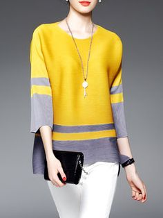 Crew Neck Color-block Sleeve H-line Blouse Kurta Designs, Blouse Designs, Girl Fashion, Fashion Dresses, Sewing Blouses, Simple Dresses, Tunic Tops, Clothes For Women, How To Wear