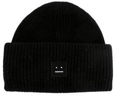 Black wool Acne Studios beanie featuring embellished smiley face patch and rib knit trim throughout. Beanie Outfit, Knit Beanie Hat, Men's Beanies, Girl Beanie, Studio Logo, Acne Studios, Black Beanie, Black Hats, Hat Embroidery