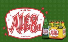 "Ale-8-One soft drink has been bottled in Winchester, Kentucky since 1926. Experimenting with ginger-blended recipes acquired during extensive travels in Northern Europe, G.L. Wainscott developed the Ale-8-One formula. The product was launched in 1926, & Wainscott sponsored one of America's first ""slogan"" contests at the Clark Co. Fair. ""A Late One,"" the winning entry, was a pun adopted for its description as the latest thing in soft drinks. Plant tours are available by reservation"