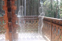 Having fun making DIY Ghosts ! Just wrap yourself in some wire netting, and place in the morning sun on the balcony - Made while at Chalet Le Moulin, the luxury family chalet in the French Alps