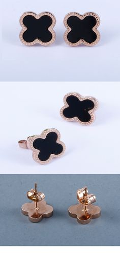 10987d4ca Beautiful Rose Gold Plated Black Stone Stud Earrings Best gift for Mother's  Day. Link: