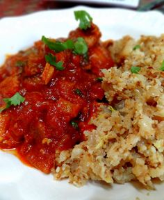 """Moroccan Chicken Stew with Lemon """"Couscous"""" Pilaf. Couscous is made with cauliflower rice.  Pure Paleo!"""