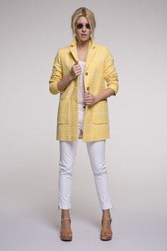 Manteau d'été femme jaune en coton.
