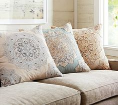"Cressida Medallion Embroidered Pillow Cover #potterybarn - 24""square - 100% cotton - reverses to solid"