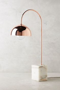 Reading Floor Lamps: Marble and rose gold table lamp Gold Rooms, Gold Bedroom, Bedroom Lamps, Bedroom Lighting, Bedroom Ideas, Bedroom Decor, Rose Gold Table, Rose Gold Decor, Rose Gold Lamp